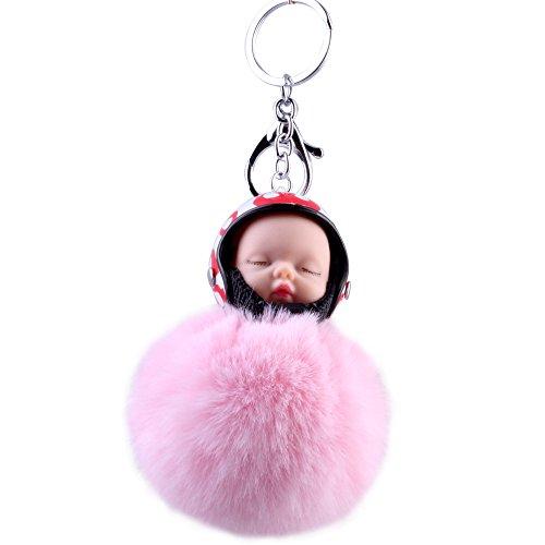 Puppe Anhänger Dame Schlüsselbund Schlafpuppe Plüsch Puppe Pelz Ball Helmkappe Autozubehör Pink