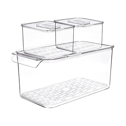 Dispensador de comida de cocina Cocina refrigeradora Fruta Vegetal Drenaje Caja de almacenamiento Transparente Doble Deck Plástico Sellado Caja de almacenamiento Bin Freezer Organizer Cocina casera