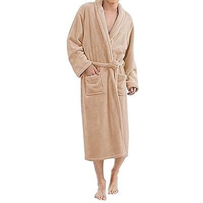 ONAMANO Men's Bathrobe Fleece Solid Plush Long Sleeve Microfiber Luxury Bathrobe