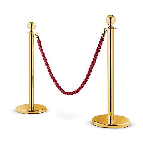 OneConcept Golden Gate - barrière, poteaux de Guidage, barrière de Passage, 2 poteaux, Support sécurisé, Cordon Triple Torsade, résistant aux intempéries, expansible, Rouge-doré