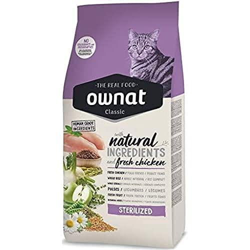 Ownat Pienso para Gatos Classic Chicken Esterilized (15 kg). Ownat para Gatos Esterilizados con Ingredientes Naturales sin Preservantes ni Colorantes, Comida Alta en Proteínas.