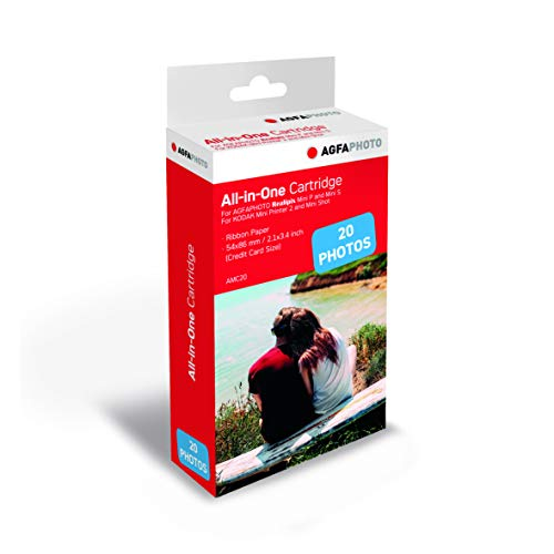 AGFA Foto, cartridge en papier voor 20 foto's, 5,3 x 8,6 cm, AMC20, compatibel met AGFA-foto, Realipix Mini S, Realipix Mini P, Kodak Mini Printer 2, Kodak Mini Shot
