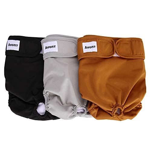 Avont 【3 Pack】 Reusable Dog Diapers,Highly Absorbent, Washable and Eco-Friendly Sanitary Wraps Panties for Female Pets -Black/Brown/Grey