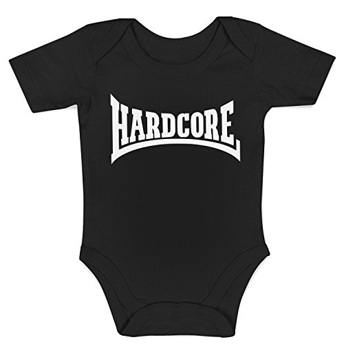 LaMAGLIERIA Body Bebè Hardcore - White Print Punk Rock Baby Body, 6-12 MESI, Negro