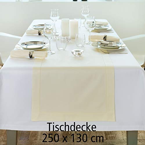 Curt Bauer Tischdecke Gent weiß 250x130 - (1514-0000 130 x 250)
