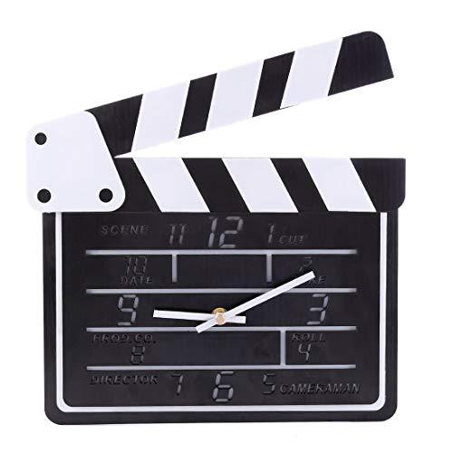 Fgurtu Wanduhr,Wanduhr Kreativ, icoki Filmklappe Design Wanduhr ohne tickgeräusche Wanduhr Lautlos, 30×27×3cm