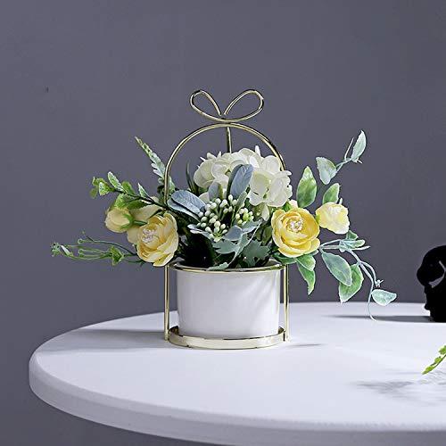 Czemo Flores Artificiales Decoración Jarrones Maceta Plásticas Flor pequeñas en Maceta para Decoración del Hogar o la Oficina Decorativa en Maceta Oficina en Casa (Amarillo)