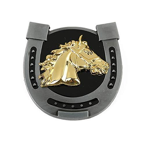 MASOP Horseshoe Horse Head Belt Buckle Western Gold Metal Belt Buckles Suitable