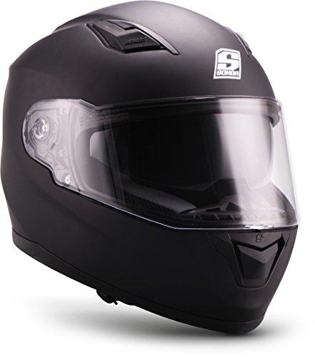 "SOXON® ST-1000 Mono ""Black"" · Integral-Helm · Full-Face Motorrad-Helm Roller-Helm Scooter-Helm Cruiser Sturz-Helm Sport Urban · ECE 22.05 Sonnenvisier Schnellverschluss Tasche XXL (63-64cm)"