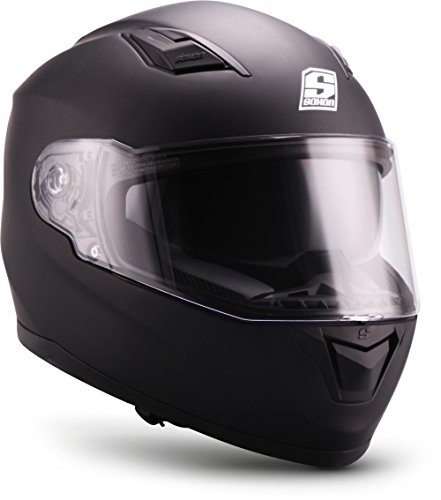 "SOXON® ST-1000 Mono ""Black"" · Integral-Helm · Full-Face Motorrad-Helm Roller-Helm Scooter-Helm Cruiser Sturz-Helm Sport Urban · ECE 22.05 Sonnenvisier Schnellverschluss Tasche XL (61-62cm)"