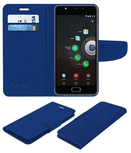 Acm Mobile Leather Flip Flap Wallet Case Compatible with Panasonic Eluga Ray X Mobile Cover Blue