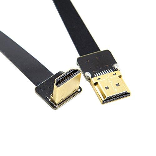 Cablecc FPV HDMI-Stecker auf 90 Grad abgewinkelter HDMI-Stecker, HDTV, FPC, Flachkabel, 20 cm, für Luftfotografie mit Multicoptern