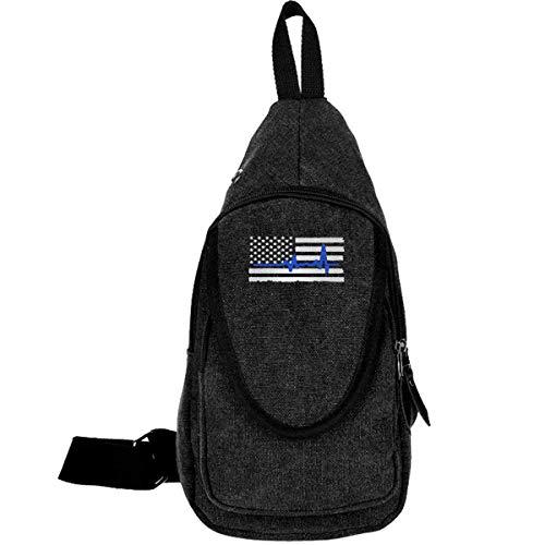 Police Heartbeat Dünne Blue Line Canvas Brusttasche für Wandern Reisen Sling Rucksack für Männer Frauen Kaffee