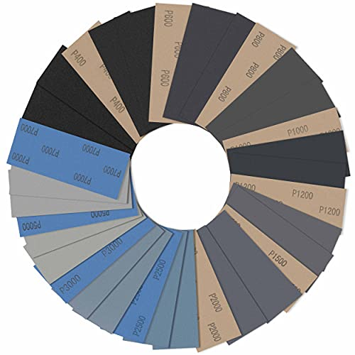 Schleifpapier 33 Blatt Set, Sandpapier Nass und Trocken 400-7000 Körnung Sortiment, Wasserfeste Fein Schleifmittel für Schleifen Auto Holz Lack Metall Glas (9 x 3.6in)