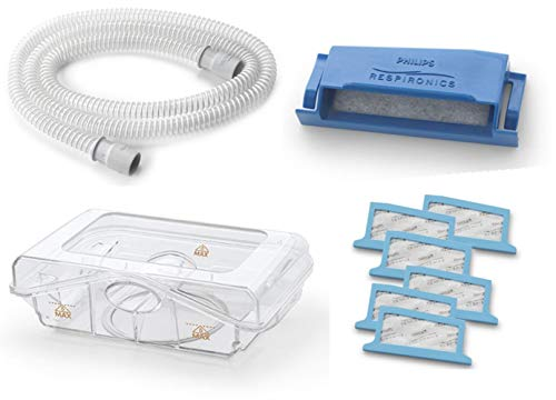 Philips Respironics Dreamstation Cpap & BIPAP Supplies Bundle - Standard CPAP Tube-15mm (Qty-1)/Water Tank (Qty-1)/Reusable Pollen Filter(Qty-1)/Disposable Ultra Fine Filters(Qty-6)
