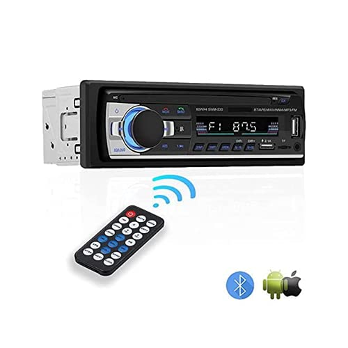 NK Auto Radio Coche - 1 DIN - 4x40W - Bluetooth 4.0 , Función AUX, Reproductor MP3 y Doble Puerto USB, FM Sonido Estéreo, Llamadas Manos Libres, Mando para Control Remoto, Pantalla LCD, iOS & Android