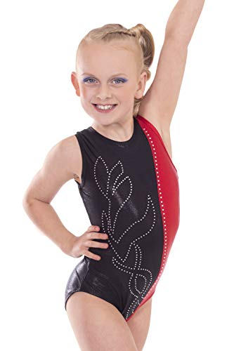 Vincenza Dancewear 'Rachel' Black And Red, Girls Short Sleeved Leotard for Gymnastics (6-7 Years, 27