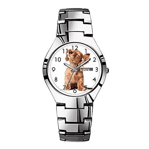 Orologi da uomo in acciaio argentato, marca superiore, impermeabile, al quarzo giapponese, orologio da uomo di Natale, orologio da lavoro, per ascoltare musica su cuffie