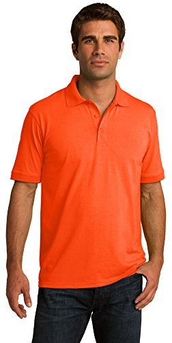 Port & Company Camisa polo masculina de malha 1,56 g, Laranja de segurança, 4X-Large Tall