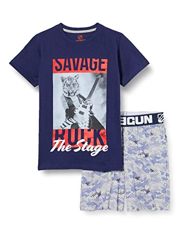 Freegun EG.fgred.psh.MZ Pijama, Azul (Marine/Gris Chine Marine/Gris Chine), 12 años para Niños