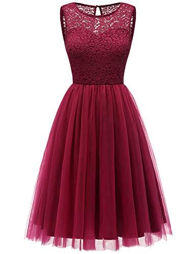 Bbonlinedress tüllrock faschingskostüme Damen tütü Cocktailkleid Tüll Kleid Brautjungfern Partykleid Abendkleid Dark Red 2XL