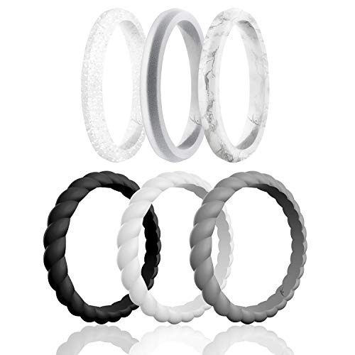 ROQ Silicone Wedding Ring for Women, Affordable Braided Point Stackable Silicone Rubber Wedding Bands - Medical Grade Silicone - Black, White, Grey, Silver, Marble Colors - Size 10