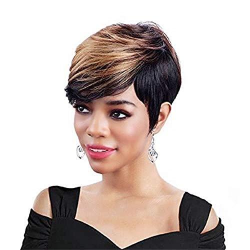 peluca,Pelucas europeas y americanas para damas pelucas de fibra qumica, pelo corto negro y castao, tocados con flequillo diagonal