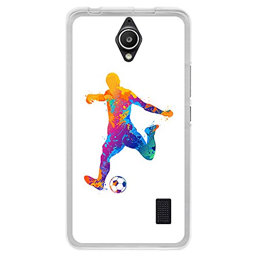 BJJ Funda Transparente para [ Huawei Y635 ], Carcasa de Silicona Flexible TPU, diseño: Futbolista Watercolor Salpicaduras de Color