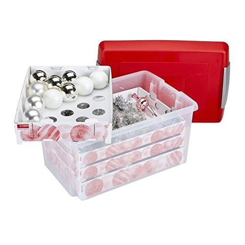 Sunware Nesta Weihnachtskugeln Box mit Tabletts für 112, transparent rot, 60Liter