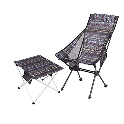 [Mesas y sillas plegables] Juego de mesa y silla de tela portátil al aire libre Muebles de camping Playa Balcón Mesa plegable y silla (C)
