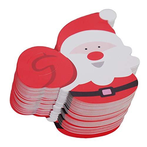 ZALING 50 Stück Papierkarte Weihnachtsmann Papierkarte Handgemachte DIY Pinguin Lutscher Dekorative Karte Geburtstagsfeier Hochzeitsdekor,Rot