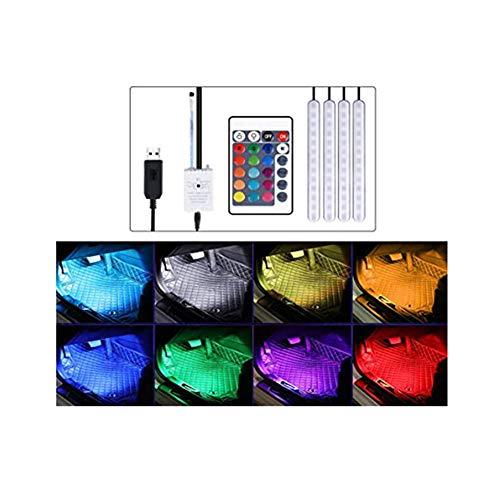 Z&LEI 4 Luces Ambiente Interior Coche, Kit iluminación Interior Espacio los pies Coche Tira Luces Decorativas neón con función Activa Sonido y Control Remoto Infrarrojos,USB