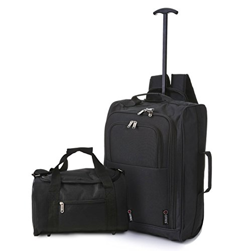 5 Cities Trolley Backpack Cabin and Ryanair Second Bag Hand Luggage, 54 cm, 14 Litre, Black