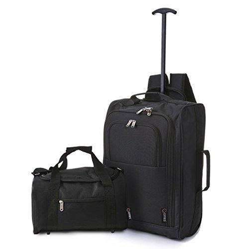 5 Cities Cabina - Multi-uso a bordo come Borse di volo/Bagaglio Trolley Zaino (Nero+Borsa Nera). Set accettato da Ryanair.