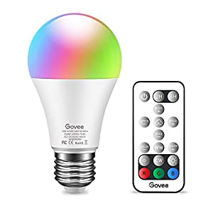 Govee RGB Color Changing Light Bulb, Dimmable 75W Equivalent LED Light Bulbs with Remote, 10W A19 E26 Screw Base Multicolor Decor Mood Light for Bedroom, Stage, Party and More