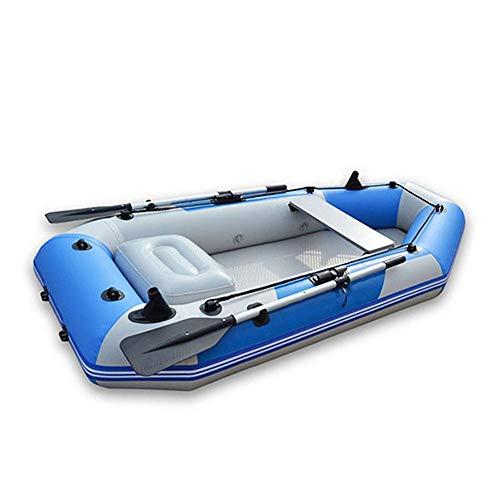 YLiansong-sports Kanu aufblasbar Sitzkajaks Aufblasbarer PVC-Kajak mit Birkenboden, 2,85 m, 4-Fach gepolstertes Netz, Lederboot Kanu Mit Paddel Wassersport (Farbe : Blau, Größe : 285x136cm)