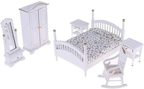 hsj LF- Toy Moderne 1/12 Skalablumenbett Weiß Schrank Stuhl Dressing Spiegelschrank Kit for Puppenhaus Schlafzimmer Leben Szenen-Dekor Lernen