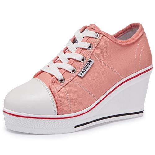 Frauen Plattform Vulkanisieren Schuhe Atmungsaktive Leinwand Turnschuhe Lässige Mode Keil High Heels Candy Farbe Studenten High Top Espadrilles