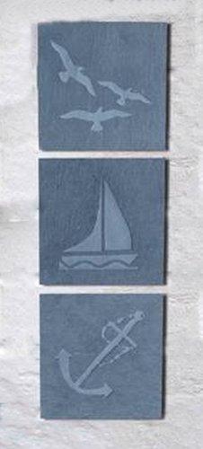 Greenkey Wandbild aus Schiefer mit Strandsmotiv, klein