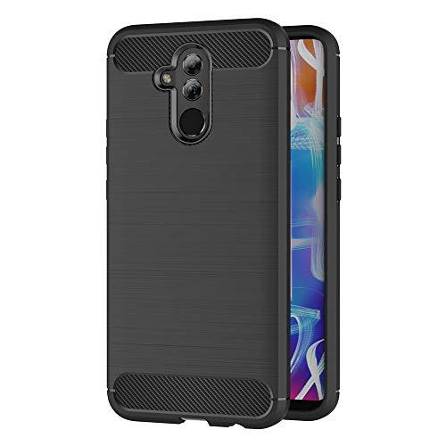 Hülle Compatible Huawei Mate 20 Lite, Schwarz Silikon Handyhülle für Huawei Mate 20 Lite Schutzhülle Karbon Optik Soft Case (6,3 Zoll)