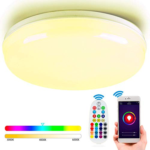 Nicetai Plafon WiFi Techo LED Lámparas de Luz 24W Control Remoto, Funciona con Alexa/Google Assistant(24W-WiFi-RGBW-30CM)