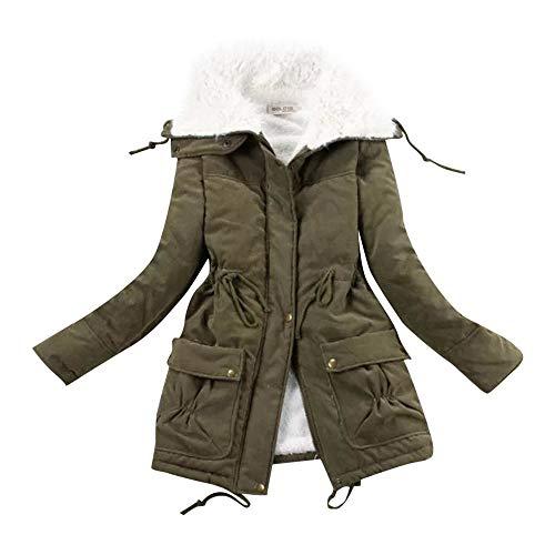 ESAILQ-Capa Chaqueta con cordón de Abrigo Casual para Mujer Ropa de algodón de Cachemir de Invierno Ropa de Abrigo