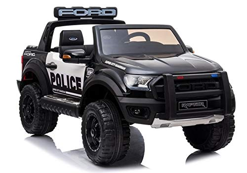 Voiture électrique 2 places 12V Ford Raptor Police Noir - Pack Luxe
