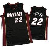 Heat # 22 Butler # 14 Herro # 3 Wade - Camiseta de baloncesto para hombre, transpirable, sin mangas, con logotipo, uniforme de entrenamiento de equipo de fans negro ~ Butler-L