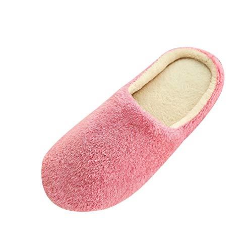 SANFASHION Chaussons Femmes Réchauffent Chaussures De Chambre Pantoufles Peluche Douce d'hiver (Rose,36-37)