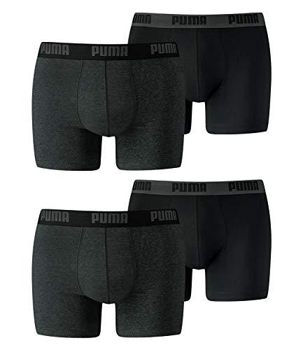 PUMA Herren Basic Boxer Unterwäsche, Dark Grey Melange / Black, L