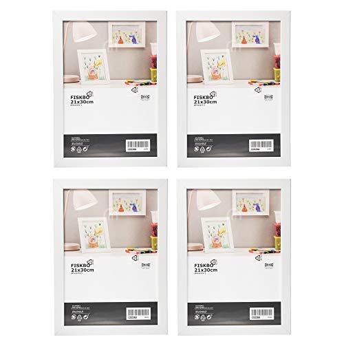 Ikea - Set di 4 cornici portafoto Fiskbo, colore bianco, formato A4, 21 x 30 cm