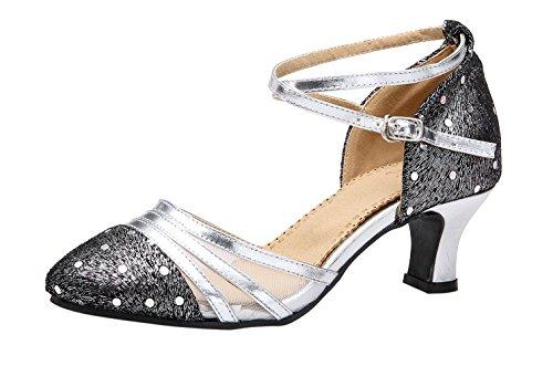 Honeystore Frauen's Funkelnde Glitzer Lackleder Heels Absatzschuhe Moderne mit Knöchelriemen Tanzschuhe Silber 37 EU