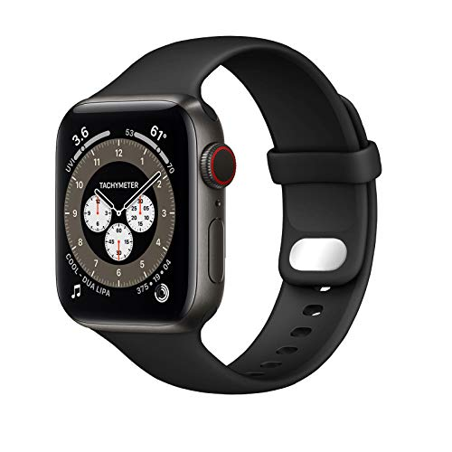 NUKELOLO Sport Band Compatible with Apple Watch Bands 42mm 44mm, Soft Silicone Replacement Strap Compatible for iWatch Series SE 6 5 4 3 2 1 Women Men [42 44mm Size in Black Color]