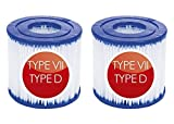 Cartucho de filtro tipo D/VII, para filtro de piscina Intex tipo D para bomba de piscina, para cartucho de repuesto Bestway, compatible con SFS-350, SFS-600, RP-350, RX-600 (2 unidades)